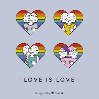 Set de parejas lgtb en corazones