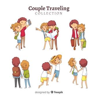 Set de parejas viajando