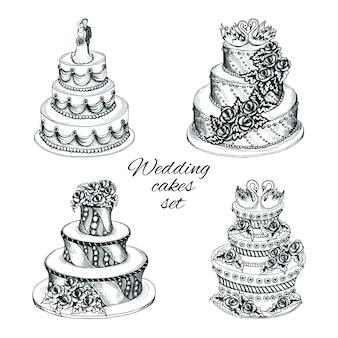 Set de pasteles de boda