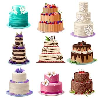 Set de pasteles dulces al horno
