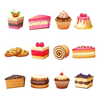 Set de pasteles y dulces.
