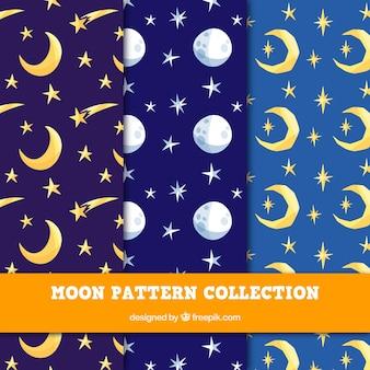 Set de patrones de colores con lunas y estrellas