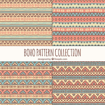 Set de patrones étnicos de colores pastel