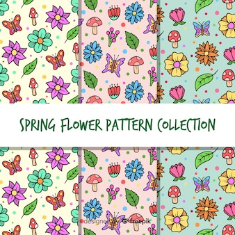 Set patrones florales primavera dibujos animados