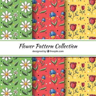 Set patrones flores dibujadas a mano