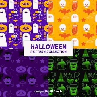 Set de patrones de halloween en diseño plano