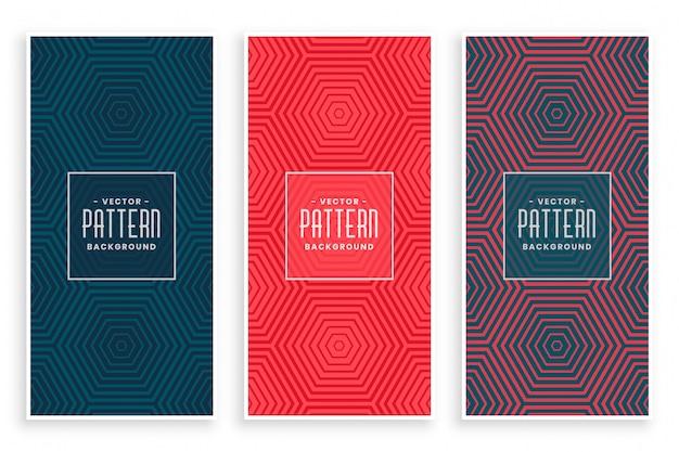 Set de patrones con líneas hexagonales