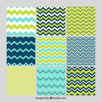 Set de patrones de líneas zig-zag
