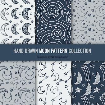 Set de patrones de luna dibujados a mano