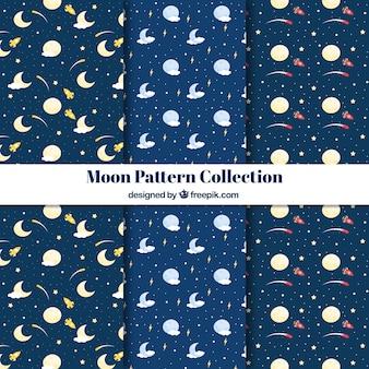 Set de patrones de luna con estrellas y cohetes