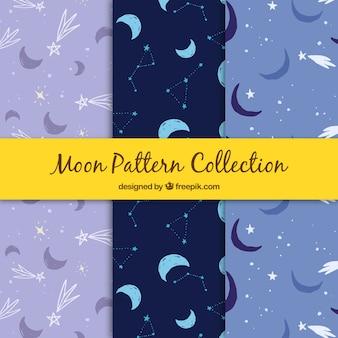 Set de patrones de lunas y estrellas