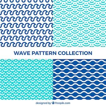 Set de patrones de ondas con formas abstractas