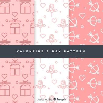 Set patrones san valentín garabatos planos