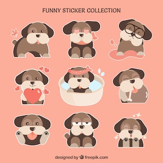 Set de pegatinas de bonito perrito