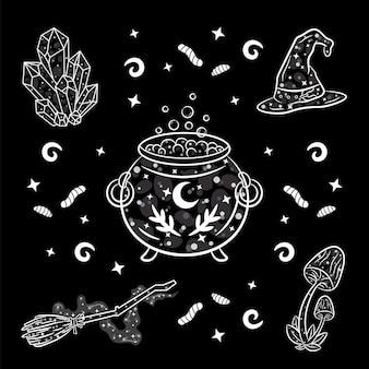 Set de pegatinas de brujería de halloween en blanco y negro