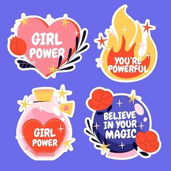 Set de pegatinas creativas de girl power