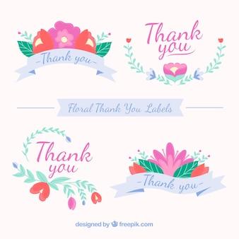 Set de pegatinas decorativas de agradecimiento con flores
