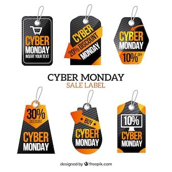 Set de pegatinas de descuentos de cyber monday