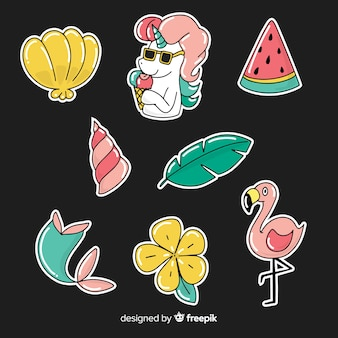 Set de pegatinas dibujadas veraniegas coloridas