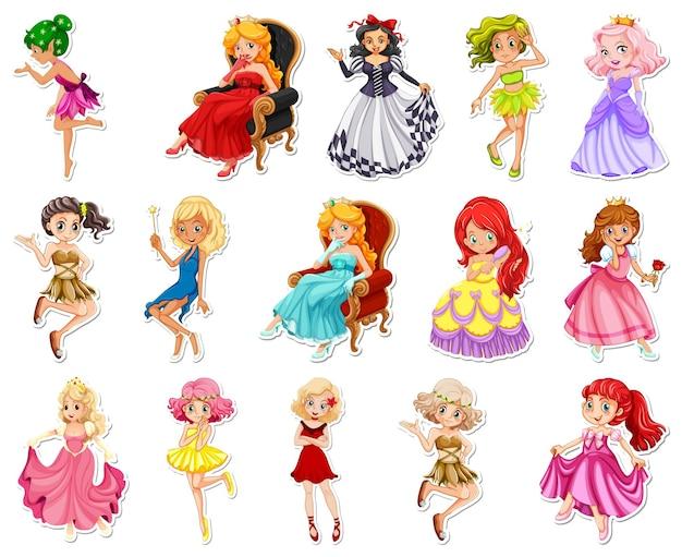 Set de pegatinas con diferentes personajes de dibujos animados de cuento de hadas.
