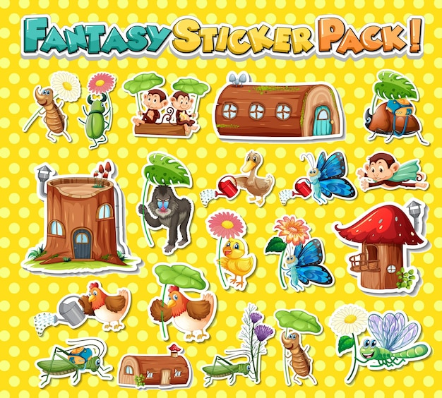 Set de pegatinas con diferentes personajes de dibujos animados de fantasía.