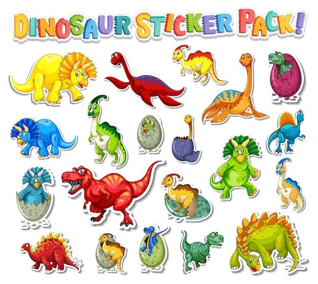 Set de pegatinas con diferentes tipos de personajes de dibujos animados de dinosaurios.
