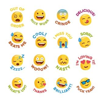 Set de pegatinas emoji con mensajes para red social.