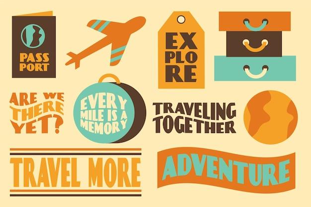 Set de pegatinas estilo viaje de los 70