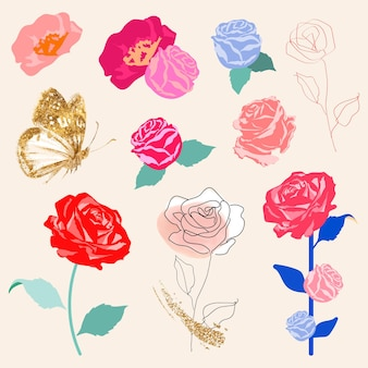 Set de pegatinas florales de rosas de colores