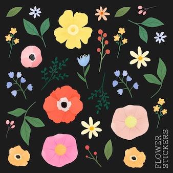 Set de pegatinas de flores y hojas