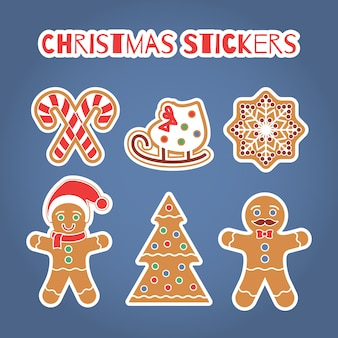 Set de pegatinas de galletas de jengibre de navidad