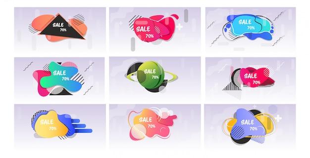 Set pegatinas de gran venta oferta especial compras descuento insignias colección de banners abstractos de color fluido con formas líquidas que fluyen estilo horizontal de memphis