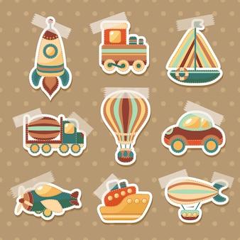 Set de pegatinas de juguete de transporte