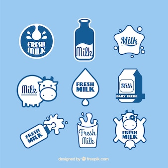 Set de pegatinas de leche fresca