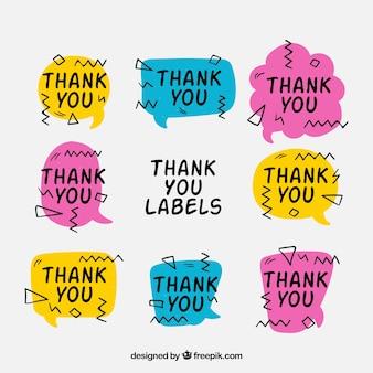 Set de pegatinas memphis de agradecimiento