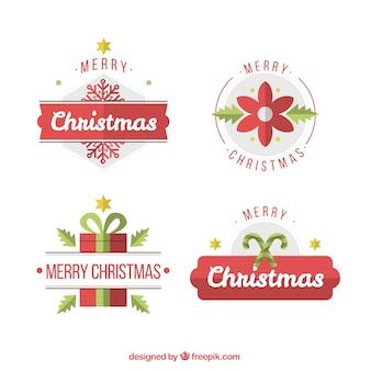 Set de pegatinas de navidad decorativas en diseño plano