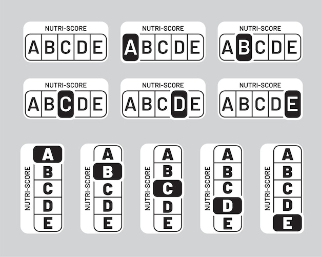 Set de pegatinas nutriscore en blanco y negro. señal del sistema nutri-score monocromo vertical y horizontal. diseño de símbolo de embalaje de atención médica