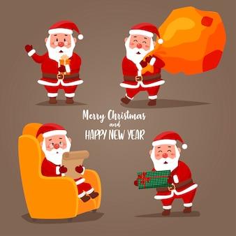 Set de pegatinas de papá noel para navidad con saludos típicos navideños