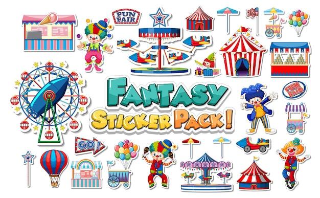 Set de pegatinas con parque de atracciones y objetos de parque de atracciones.