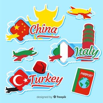 Set pegatinas planas países
