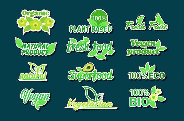 Set pegatinas de productos naturales a base de plantas orgánicas saludables veganas logotipos del mercado emblemas de alimentos frescos insignias colección horizontal plana