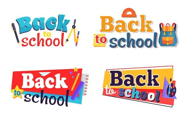Set de pegatinas de regreso a la escuela con objetos estacionarios