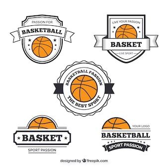 Set de pegatinas retro de baloncesto