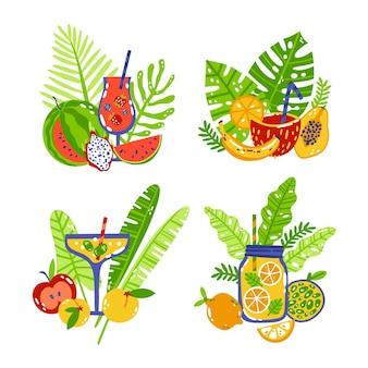 Set de pegatinas de verano dibujadas a mano