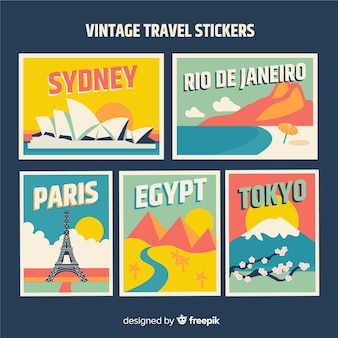 Set pegatinas viaje vintage