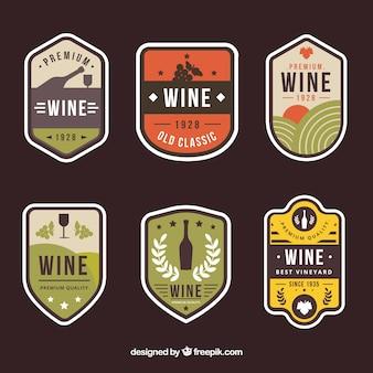 Set de pegatinas vintage de vino
