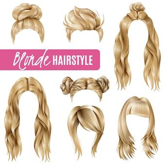 Set de peinados para mujeres rubias