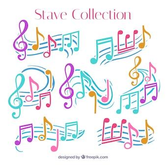 Set de pentagramas con notas musicales de colores dibujadas a mano