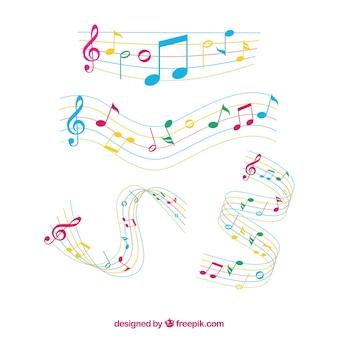 Set de pentagramas con notas musicales de colores