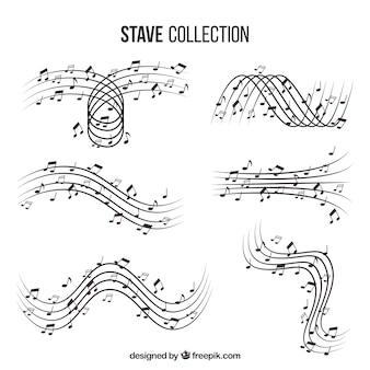 Set de pentagramas con notas musicales